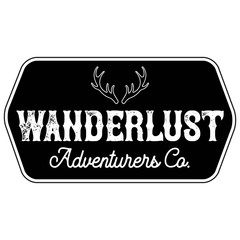 Vector Distressed Antlers Wanderlust Adventurers Company Logo Hexagon Patch in Black and White