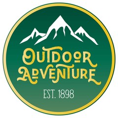 Vector Mountain Peak Distressed Outdoor Adventure Round Patch Company Logo in Forest Green & Yellow