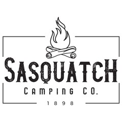Vector Distressed Rectangle Sasquatch Camping Company Log Campfire Logo in Black & White. Great for t-shirts, hats, apparel, logos, gifts, home decor, textiles, stationery, and paper crafting.