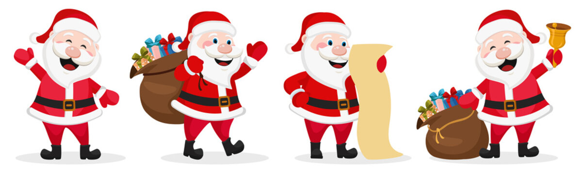 Set of Santa Claus in different poses. Christmas character
