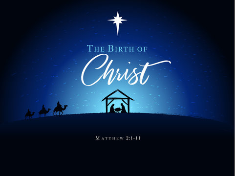 Christmas scene of baby Jesus in the manger with Mary and Joseph in silhouette, surrounded by star and three wise men on camels. Christian Nativity with text The Birth of Christ, vector banner