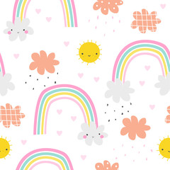 Seamless pattern with cute sun and rainbow. Childish print. Vector hand drawn illustration.
