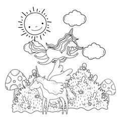 cute fairytale unicorns in the landscape