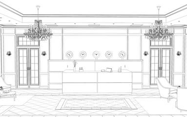 hall, hotel lobby, contour visualization, 3D illustration, sketch, outline