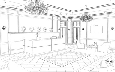 hall, hotel lobby, contour visualization, 3D illustration, sketch, outline