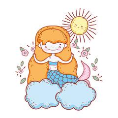 cute mermaid with flowers in the cloud