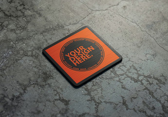 Drink Coaster on Concrete Surface Mockup