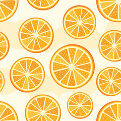 Orange sliced pattern. Seamless orange slices background. Vector orange pattern