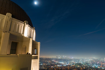 a long exposure shot from the deck of the Griffith Observatory in Los Angeles, California at night