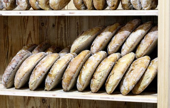 many pieces of wholemeal bread in a bakery