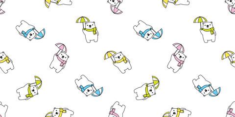 Bear seamless pattern vector polar bear umbrella rain scarf isolated cartoon illustration tile background repeat wallpaper