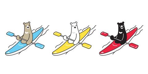 Bear vector polar bear boating kayak boat cartoon character icon logo illustration