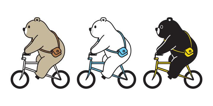 Bear vector polar bear bicycle riding cartoon character icon logo illustration doodle
