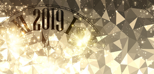 Golden shiny Happy New Year 2019 mosaic banner with blurred clock.