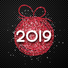 Happy New Year 2019 card with red abstract Christmas ball on transparent backdrop.