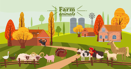 Farm animals and birds set in trendy cute style, including horse, cow, donkey, sheep, goat, pig, rabbit, duck, goose, turkey, rooster,ram, dog, cat, bull and chicken, isolated on rural landscape, farm Fototapete