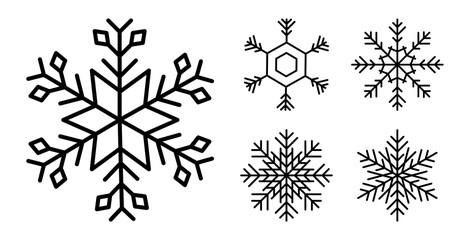 snowflake winter set of black isolated nine icon silhouette on white background