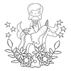 cute mermaid with unicorn and floral decoration