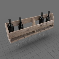 Wall wine rack with bottles and glasses