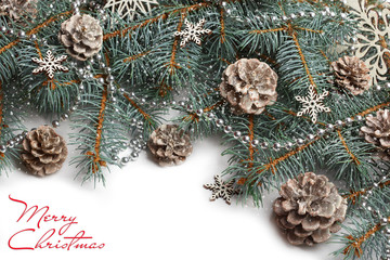 Christmas background with xmas tree and sparkle bokeh lights on wooden canvas background. Merry christmas card. Winter holiday theme. Happy New Year. Space for text. Happy Holidays