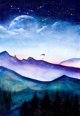 Watercolor Mountain Landscape with the Night Sky.