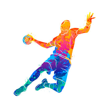 Abstract handball player jumping with the ball from splash of watercolors