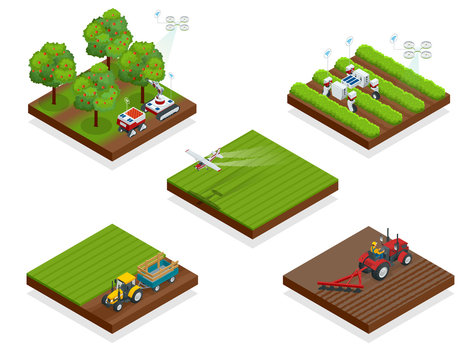Isometric agriculture automatic guided robots harvest fruit from trees and harvest berries, combined harvester-thresher in the field.