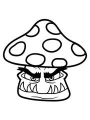 horror monster halloween gruselig böse gesicht mund fressen pilz fliegenpilz rot punkte essen giftig lecker hunger drogen trip wald sammeln kochen clipart design comic cartoon