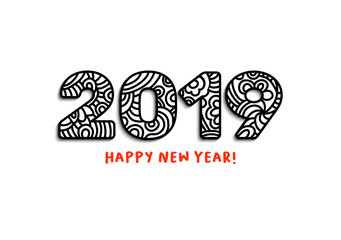 2019 Lettering, Happy New Year Greeting. Calendar Front Cover, Horizontal Slogan with Chinese Zodiac Xmas Holiday, Doodle Nombers with Black Ornament. Notepad Isolated Print.