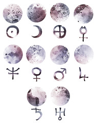 Watercolor planet symbols