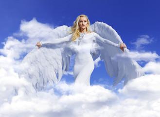 Foto auf AluDibond Artist KB Conceptual portrait of a blond angel flying up to the sky