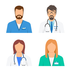 Doctor and nurse avatars icon set.