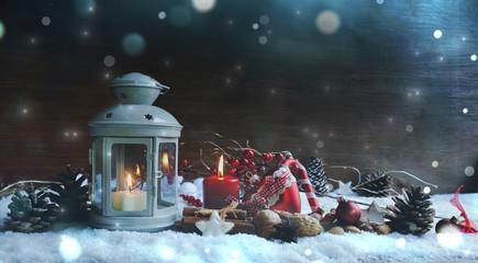 Weihnachten Hintergrund Laterne - Weihnachtskarte  Fotomurales