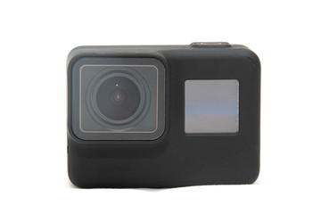 Black new action camera. Isolated on a white background.