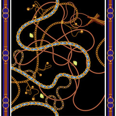 Seamless pattern with golden chains, belts and gems. Vector scarf for fashion print, fabric design.