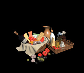 3d render vegatable and cheese