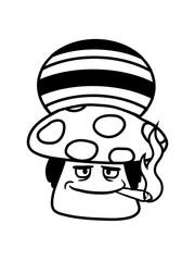 cool rauchen raggae kiffen kiffer joint hanf weed cannabis jamaika pilz fliegenpilz rot punkte essen giftig lecker drogen trip wald sammeln kochen clipart design comic cartoon
