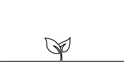 Continuous line drawing. plant seeds. Lines black on white background. Vector illustration