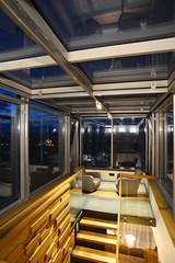 Glazed terrace by night