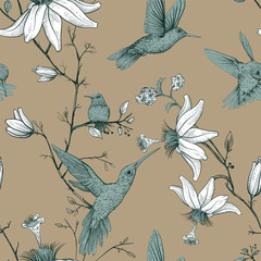 Foto op Aluminium Botanisch Vector sketch pattern with birds and flowers. Monochrome flower design for web, wrapping paper, phone cover, textile, fabric, postcard