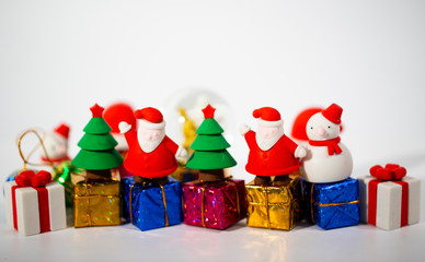 Christmas background with decorations and gift boxes with copy space