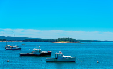 Maine Lobster Boats Moored Offshore at Deer Isle Harbor