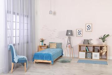 Child room with modern furniture. Idea for interior decor