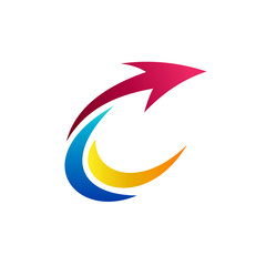 Colorful Letter C With Arrow Business Logo Template