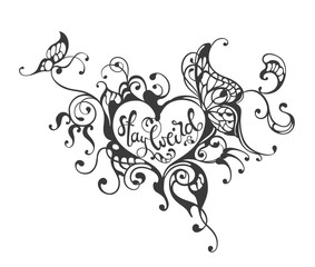 Printed kitchen splashbacks Butterflies in Grunge Stay weird - lettering text in ornate heart frame