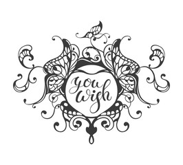 You wish - lettering text in ornate heart frame