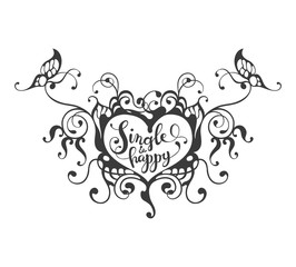 Single and happy - lettering text in ornate heart