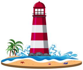 Isolated lighthouse on island