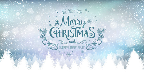 Fototapete - Christmas and New Year Typographical on snowy Xmas background with winter landscape with snowflakes, light, stars. Merry Christmas card. Vector Illustration