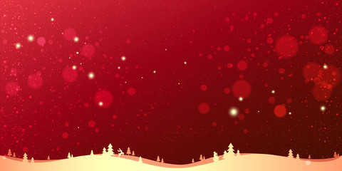 Fototapete - Red winter Christmas background with gold landscape, snowflakes, light, stars. Xmas and New Year card. Vector Illustration